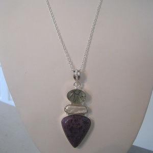 Jewelry - ARTISAN RUTILATED QUARTZ, PEARL, JASPER NECKLACE